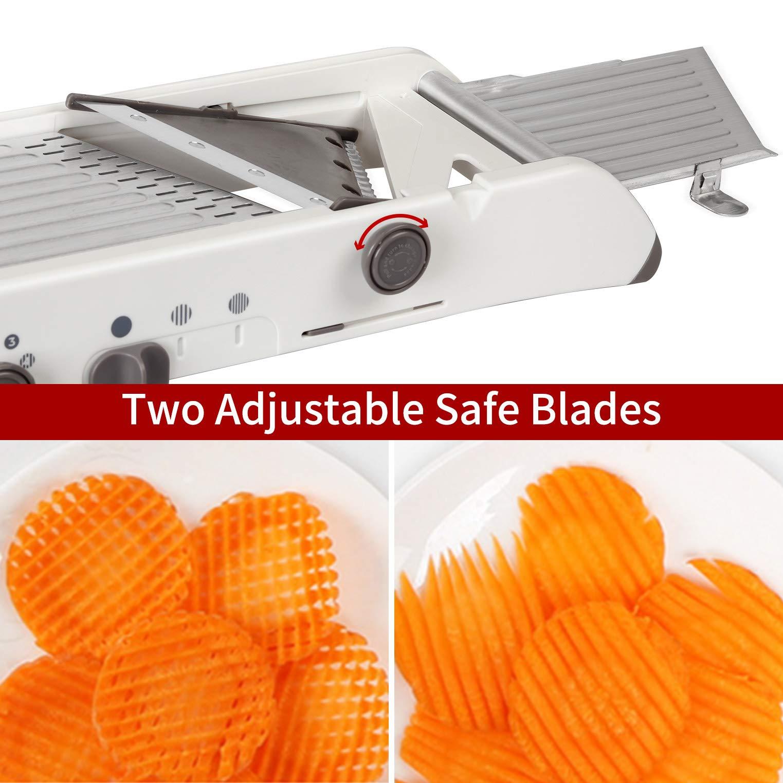 Mandoline Slicer Stainless Steel Vegetable Julienner Built-in Adjustable Safe Blades Grater - Veggie Slicer Food - Slicer Mandoline Cutter - Vegetable Cutter, Maker for Low Carb-Free (White)