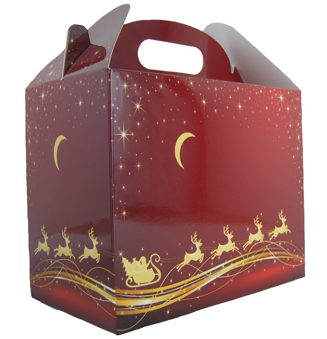 10 x RED/GOLD REINDEER CHRISTMAS GABLE BOXES - Cardboard Xmas Gift Hamper Box Jaffa Imports