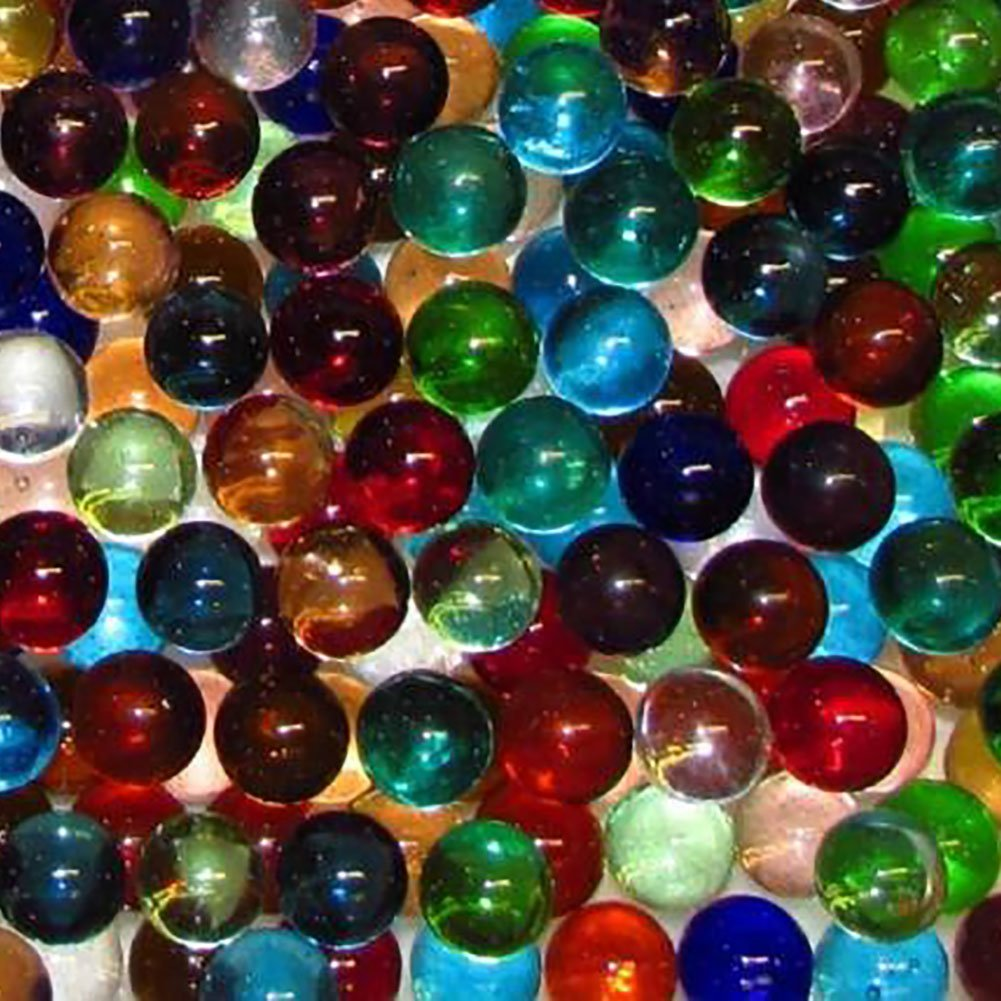 """Unique & Custom {9/16'' Inch} Set of Approx 50 Small """"Round"""" Clear Marbles Made of Glass for Filling Vases, Games & Decor w/ Vibrant Shiny Rainbow Hues Basic Playful Design [Assorted Colors]"""