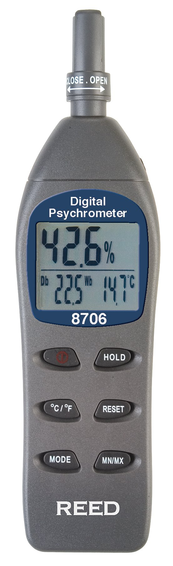 REED Instruments 8706 Digital Psychrometer / Thermo-Hygrometer, (Wet Bulb, Dew Point, Temperature, Humidity) with Calibration Certificate