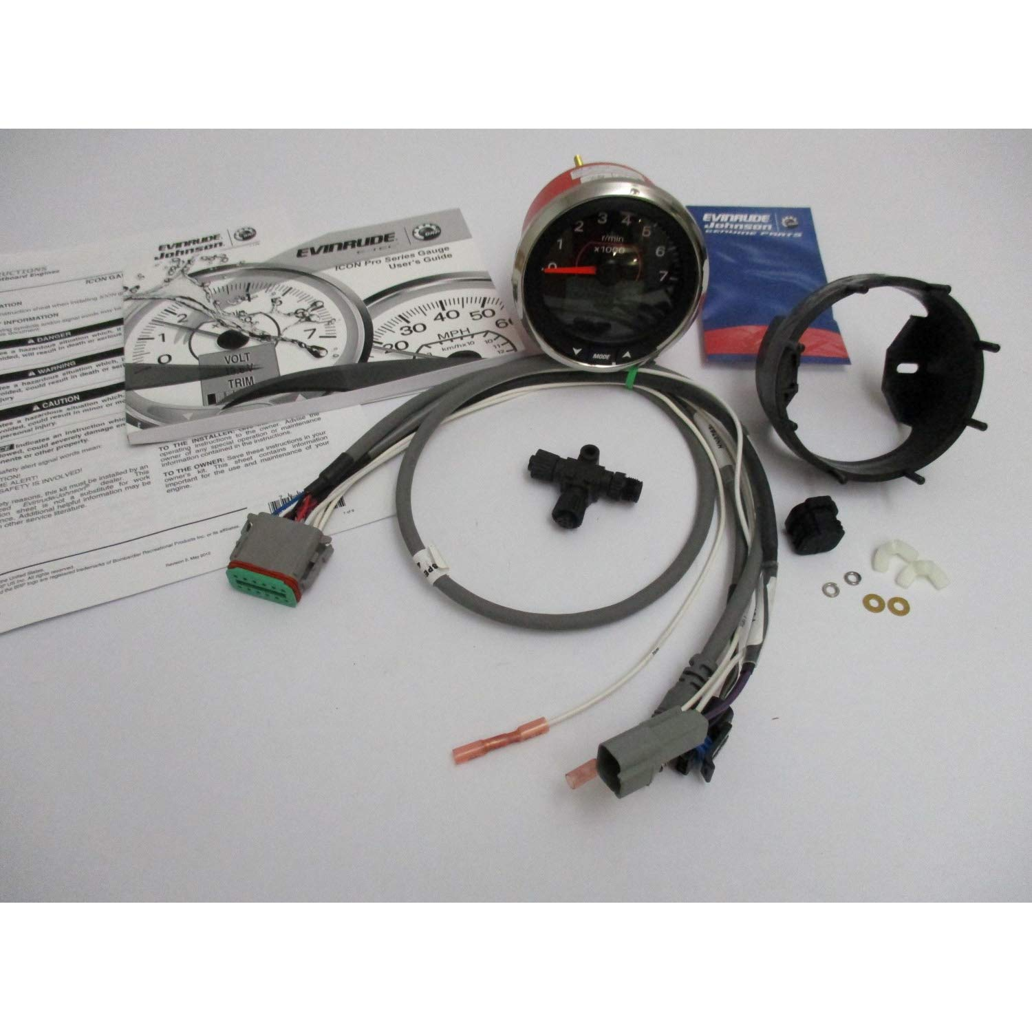 Evinrude Etec New Icon Tach Pro Tachometer Kit 4'' Black 7000 RPM 0768007; 768007
