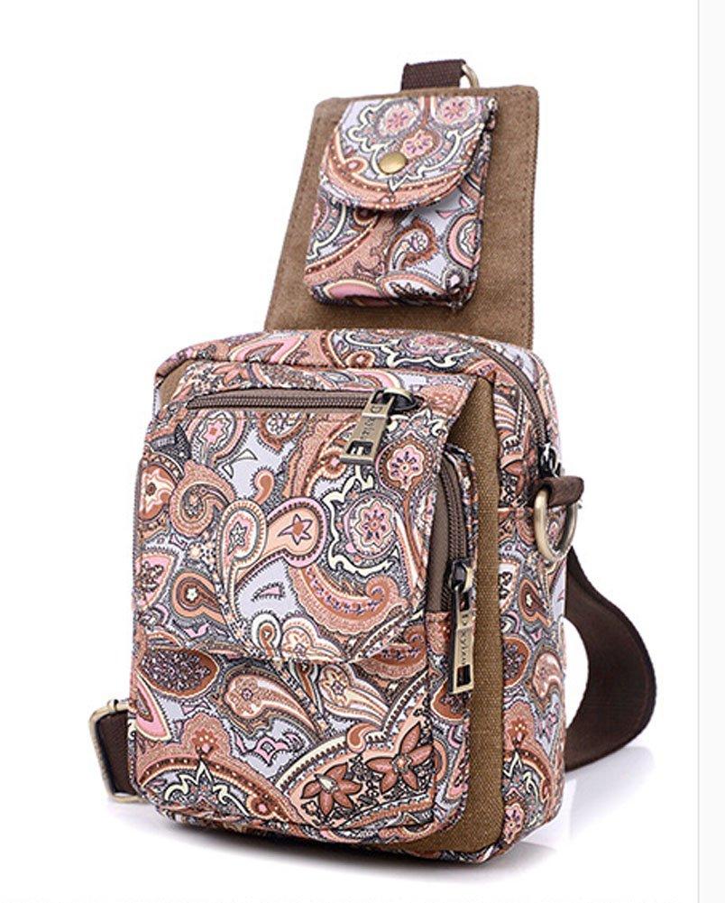 Vintage Fashion Multi-pocket Canvas Hiking Traveling Satchel Crossbody Bag Shoulder Messenger Bag Ecokaki Army Green TM