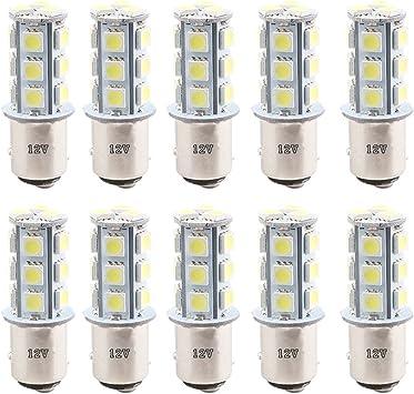 DV-12V Everbright 10PCS White S25 1157 BAY15D 1034//1016 Base 18 SMD 5050 LED Replacement Bulb for RV Car Brake Light Lamp Backup Lamps Bulbs Day Running Light