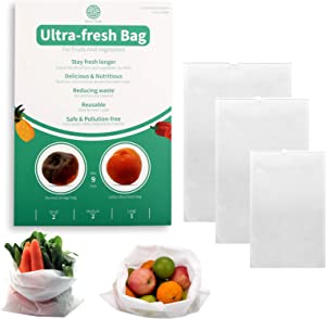 KYEKIO Green Ultra-Fresh Bag, BPA Free Reusable Bags For One-Year Kitchen Freshness, Food Saver Storage for Fruits, Vegetables and Flowers, 5Pcs (2S/2M/1L)
