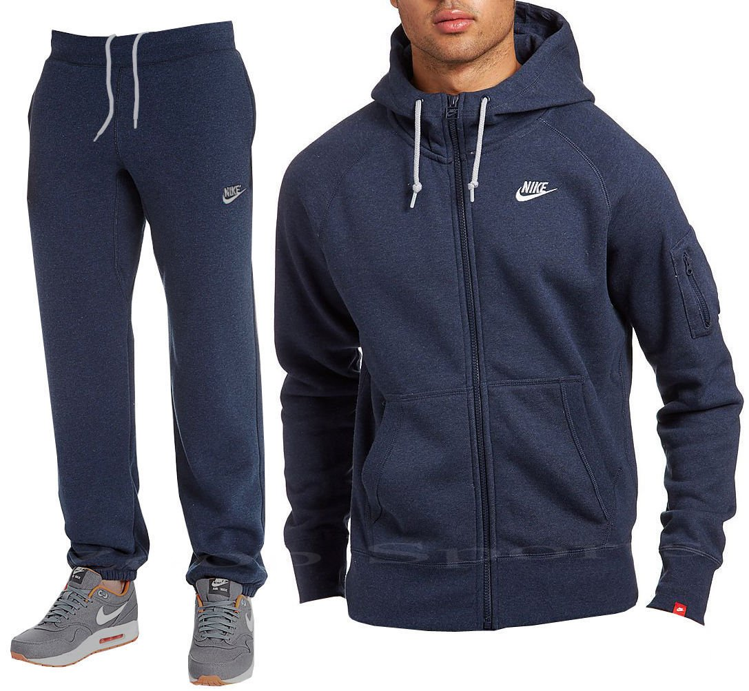 259a3fee29db Nike Mens Jog Suit Foundation Fleece Tracksuit Brushed Fleece Hooded Sports  Jogging Top Bottoms 2 Colours Marl Grey Navy Sizes S M L XL New (Navy Blue
