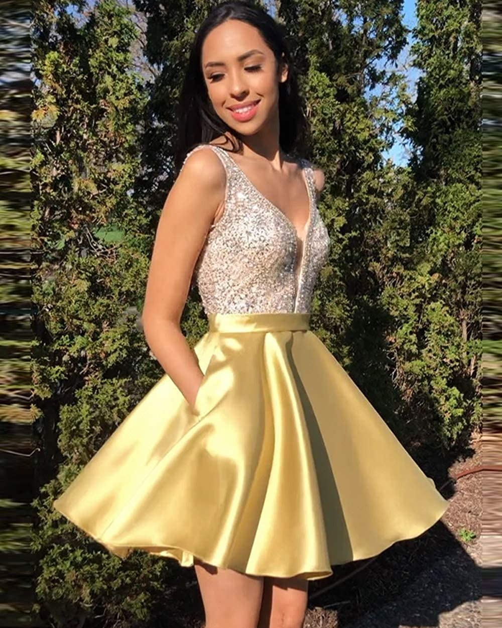 Stylefun Homecoming Dresses for Freshman Girls a line v Neck Short Cocktail Dress with Pockets 2020 Baby Pink 5nkKN