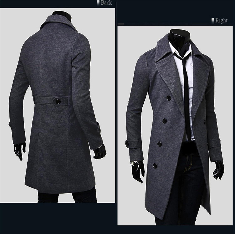 ZumZup Homme Manteau Long à double boutonnage Trench-Coat Caban Chaud En Drap ZU.AW-5625