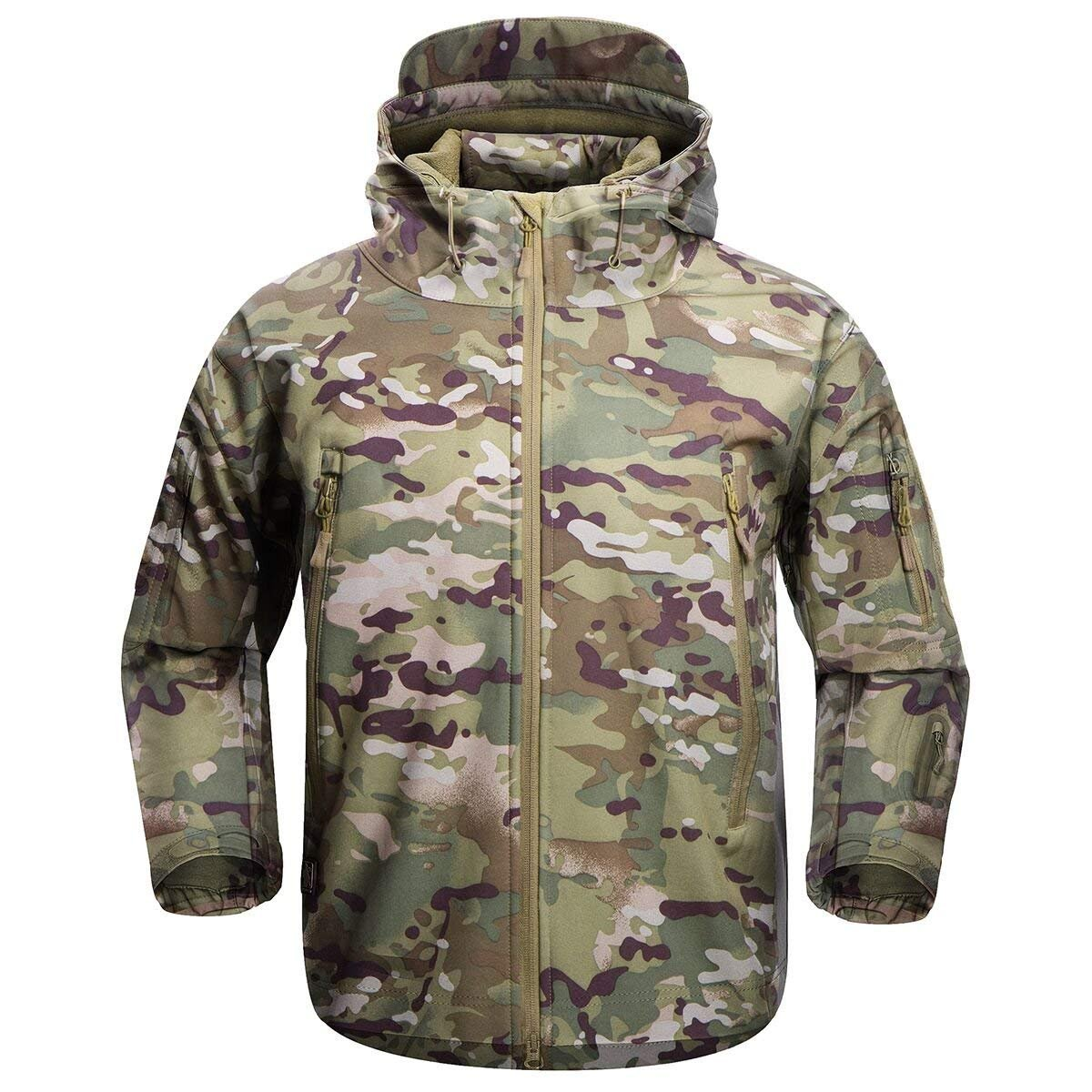 FREE SOLDIER Men's Outdoor Waterproof Soft Shell Hooded Military Tactical Jacket (MultiCam, XL) by FREE SOLDIER