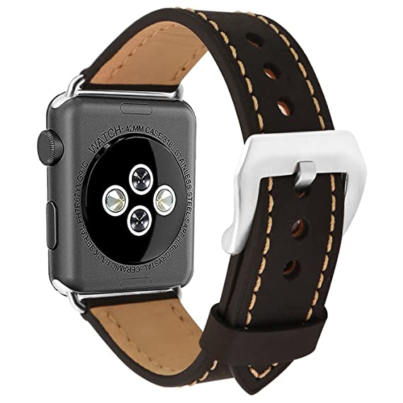 Apple Watch Band 38mm 42mmVintage Genuine Leather Replacement iwatch Strap Large Stainless Steel Buckle for Apple Watch Series 3 Series 2 Series 1 ...
