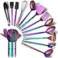 Rainbow Kitchen Utensils Set,13 Pieces Stainless Steel Cooking Utensils Set With Titanium Rainbow Plating,Kitchen Tools Set W