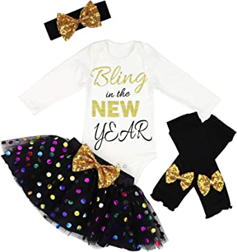 Amazon Com Baby Girl First New Year Tutu Dress Outfit My 1st New Year Romper Leg Warmers Headband Tutu Dress 6 9 Months Black Clothing