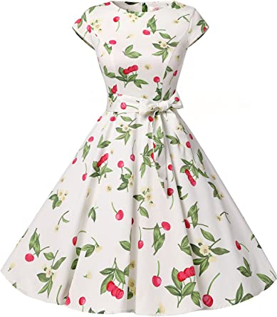 TALLA L. Dressystar Vintage 1950s Polka Dot and Solid Color Prom Dresses Cap-Sleeve Cherry3 L