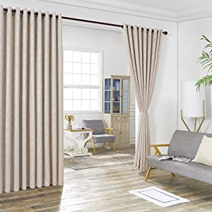 "WARM HOME DESIGNS 2 of 108"" (Width) X 108"" (Length) Wall to Wall Cream Ivory Embossed Room Divider Curtains with 2 Tie-Backs. Total Width is 216 Inches (18 feet). Length 9 Feet. EV Ivory Wall 108"""
