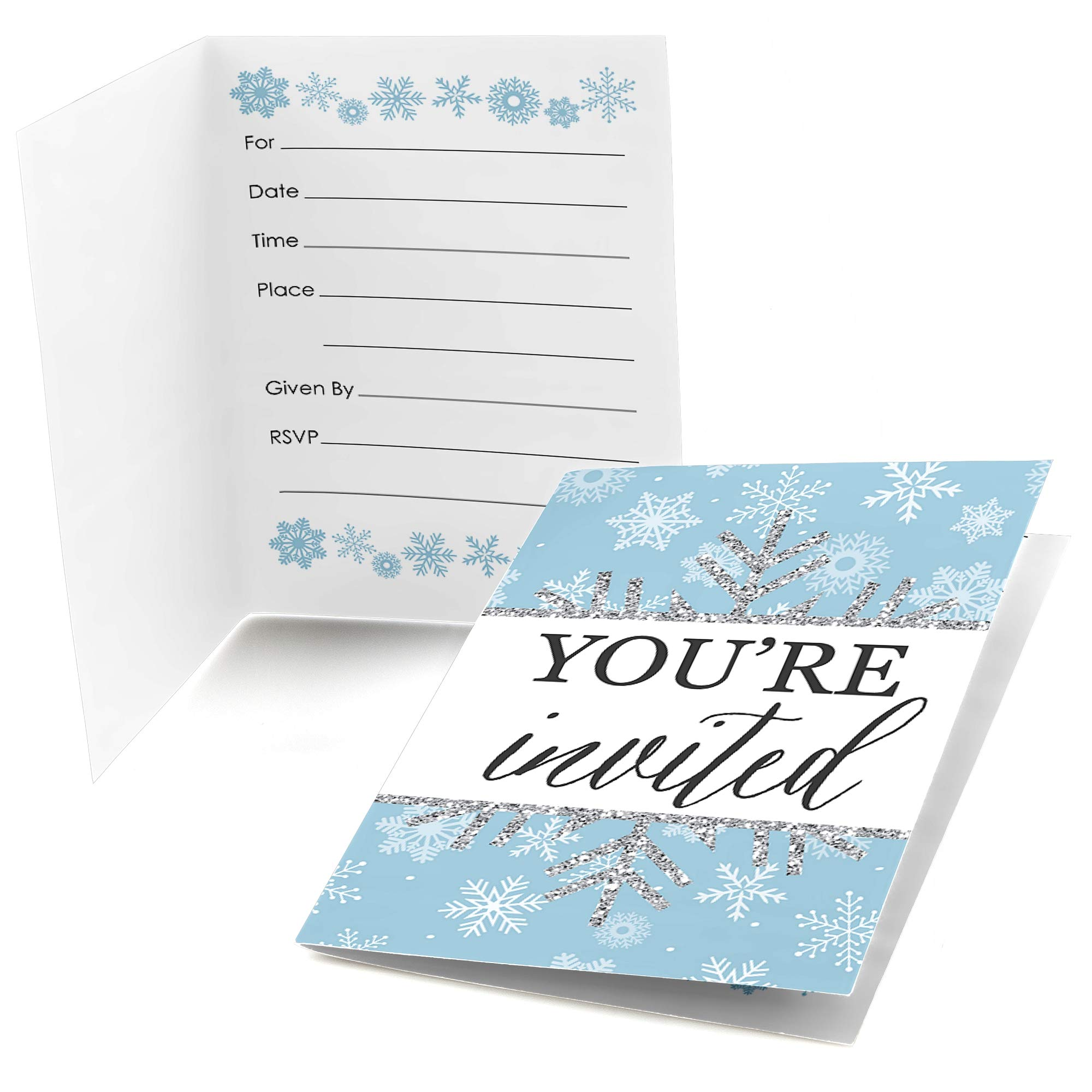 Amazon Winter Wonderland Fill In Snowflake Holiday Party Wedding Invitations 8 Count Kitchen Dining: Blank Wedding Invitations Snow Flakes At Reisefeber.org