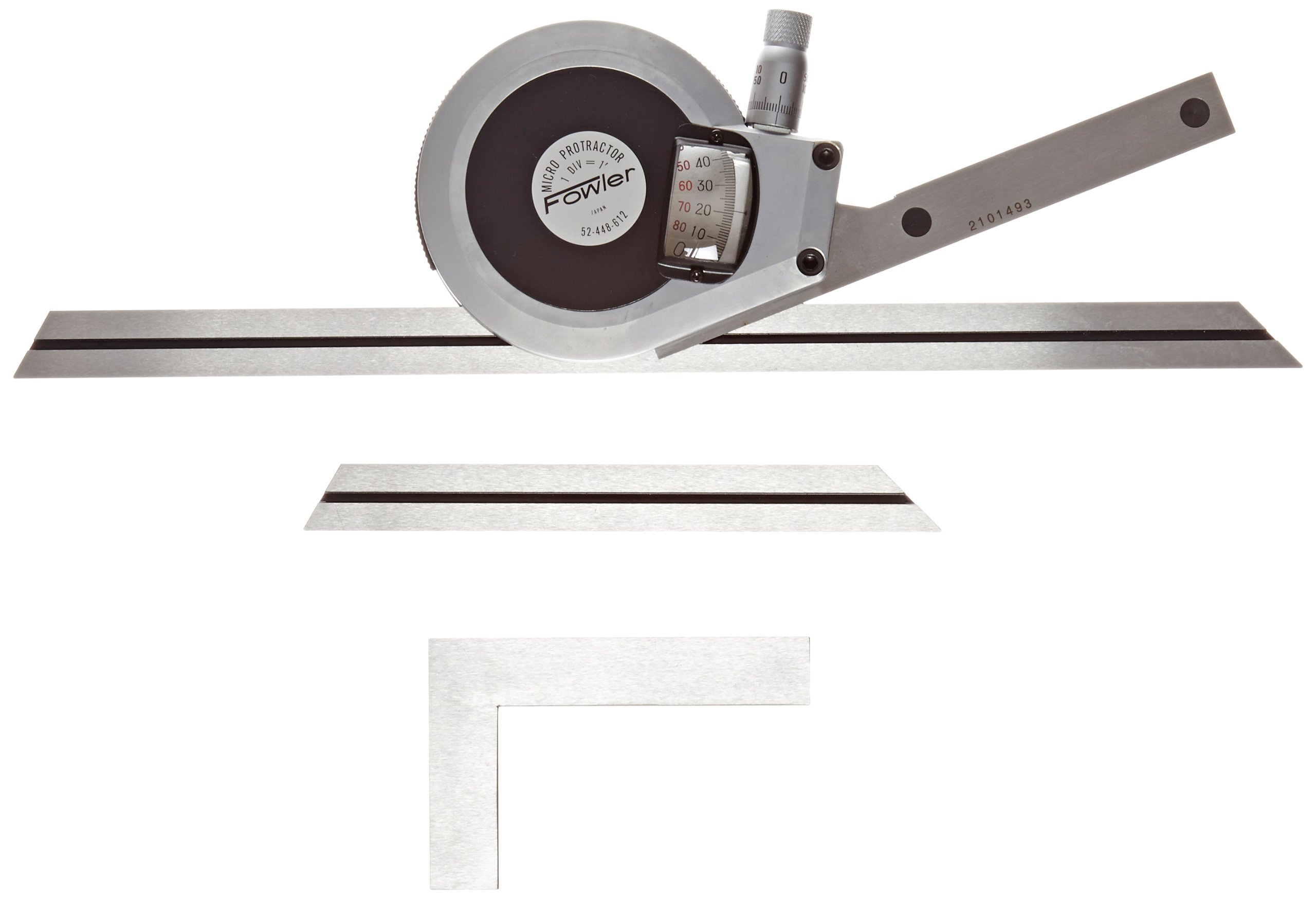 Fowler 52-448-612 Stainless Steel Premium Universal Dial Protractor with 6'' and 12'' Blade