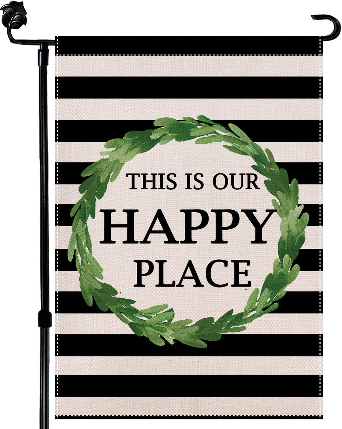Baikey Garden Flag, Yard Flag This is Our Happy Place Stripes Wreath Rustic Vertical Double Sized Flag for Farmhouse Home Outdoor Decoration 12.5 x 18 Inch