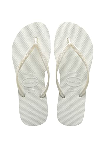Havaianas Womens Slim Fashion White Flip Flops Sandals Shoes SZ: 9/10