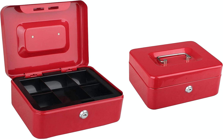 Tech Traders TTCB - Caja de metal con bandeja para dinero (2 llaves, 20,3 cm): Amazon.es: Bricolaje y herramientas