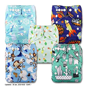 Reusable Pocket Cloth Nappy Set of 1 Pattern 29 Fastener: Popper with 1 Bamboo Insert Littles /& Bloomz