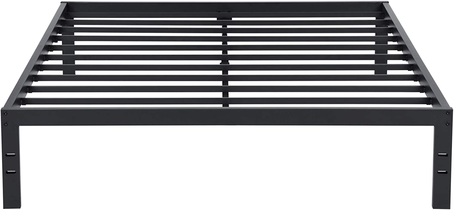 Olee Sleep OLR14BF10Q 14 Tall New Dura Metal Steel Slat Non-slip Support Bed Frame S-3500, Queen, Black