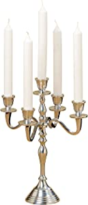 WHW Whole House Worlds Romantic Hamptons Five Candle Silver Candelabra, Hand Crafted, Centerpiece, Silver Aluminum Nickel, Approximately 1 Foot Tall (11.75 Inches, 30 cm) Fits Standard Taper Candles