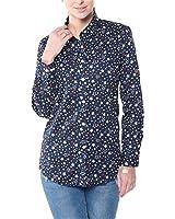 Dioufond Mujeres Camisas de Algodón Manga larga Diseño a Estrellas Tops Blusas - Trabajo/Verano