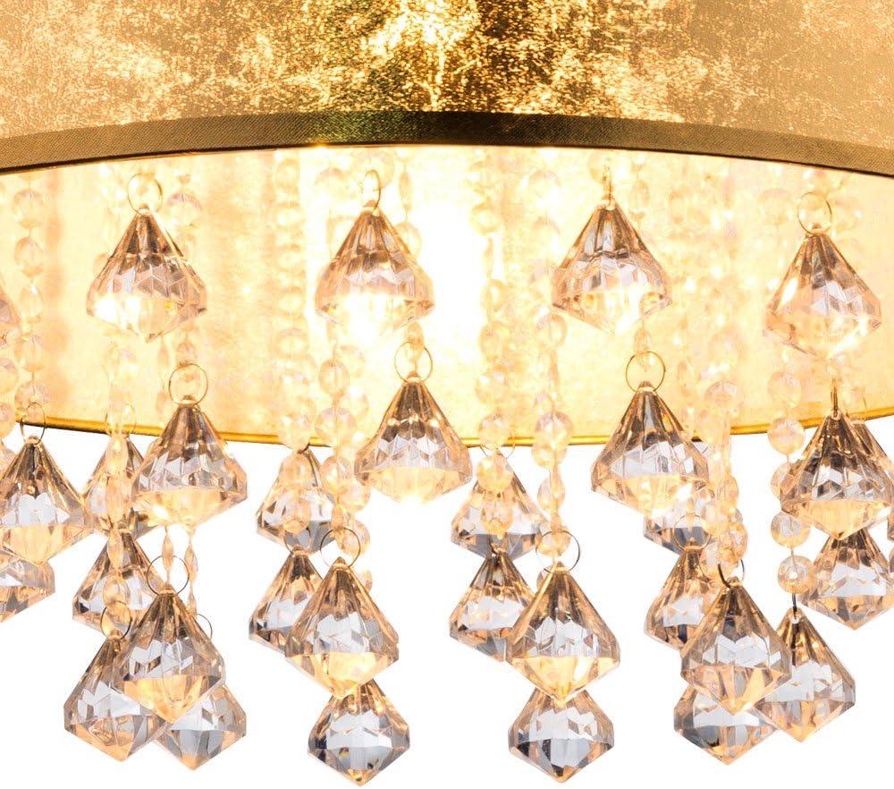 DESIGN GOLD LED Decken Lampe Leuchte Kristalle Wohn Ess Zimmer Beleuchtung