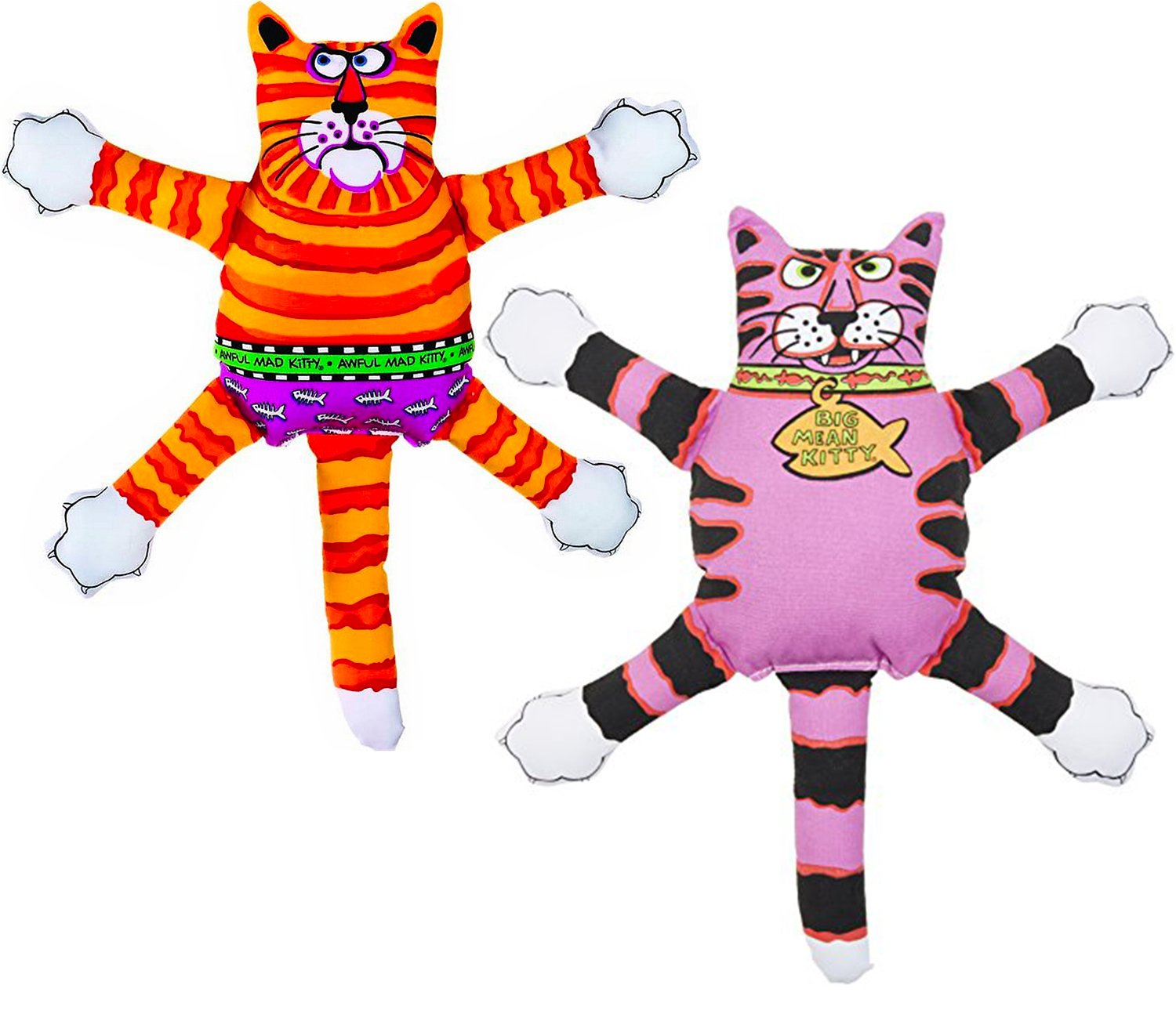 TwiceBooked Kitty Hoots Terrible Nasty Scaries Dog Toy Two Pack - One Big Mean Kitty & One Awful Mad Kitty