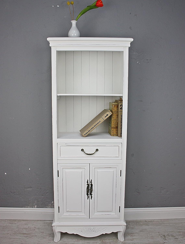 elbmöbel Küchenregal in weiß aus Holz mit Türen im Landhaus-Design ...
