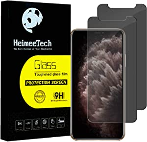 HeimeeTech Edge to Edge Privacy Screen Protector for iPhone XR and iPhone 11, Anti Scratch, Tempered Glass Bubble Free Case Friendly Film[2 Pack][6.1 Inch]