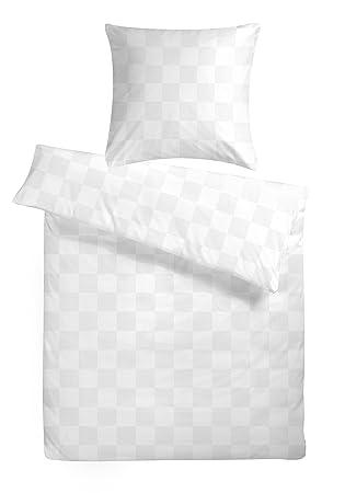 Bettwäsche 135 x 200 Weiß kariert Damast Garnitur Baumwoll Hotel Bettbezug Set