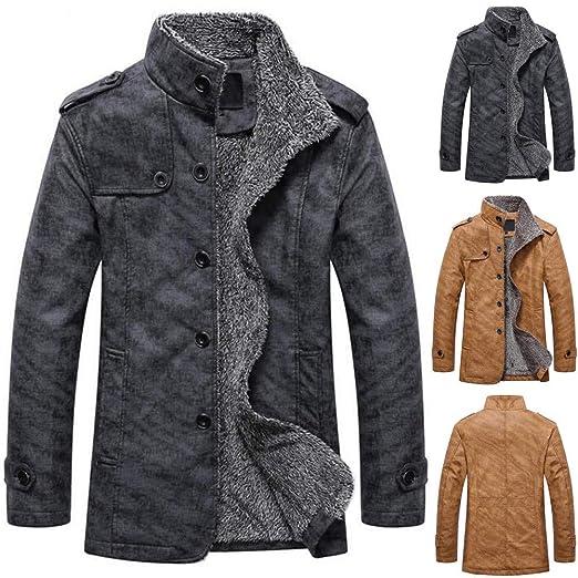 Amazon.com: Clearance Sale! Autumn Winter Men Patchwork Coats Casual Button Jacket Coat Thermal Leather Warm Sportswear Top Blouse (XL, Dark Gray): Garden & ...