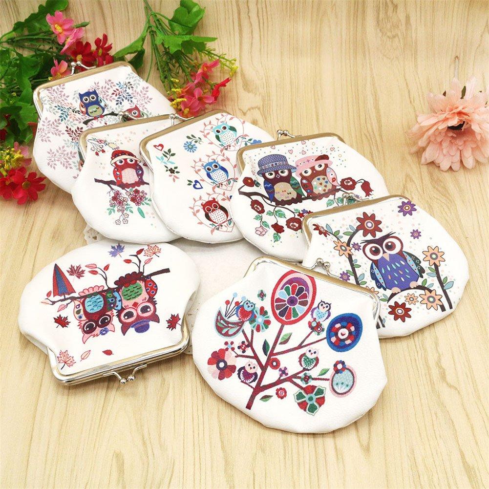 Pequeño monedero con cierre de broche de Daliuing, de cuero con diseño de búho, para mujeres y niñas, D, 14x9.5cm