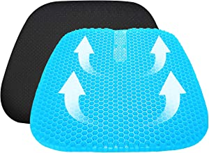 Vodche Large Gel Seat Cushion, Upgraded Seat Cushion with Non-Slip Cover, Multi-Use Seat Cushion Super Breathable Honeycomb Design Relief Back Pain Gel Cushion for Office Chair,Car, Wheelchair, Home