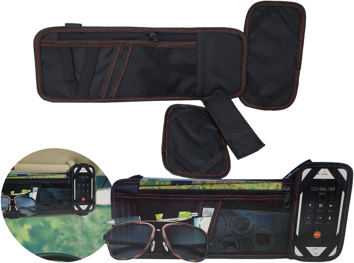 Cell Phone Car Sun Visor Organizer Storage Auto Accessories Document Holder Registration /& Insurance Sun Glasses