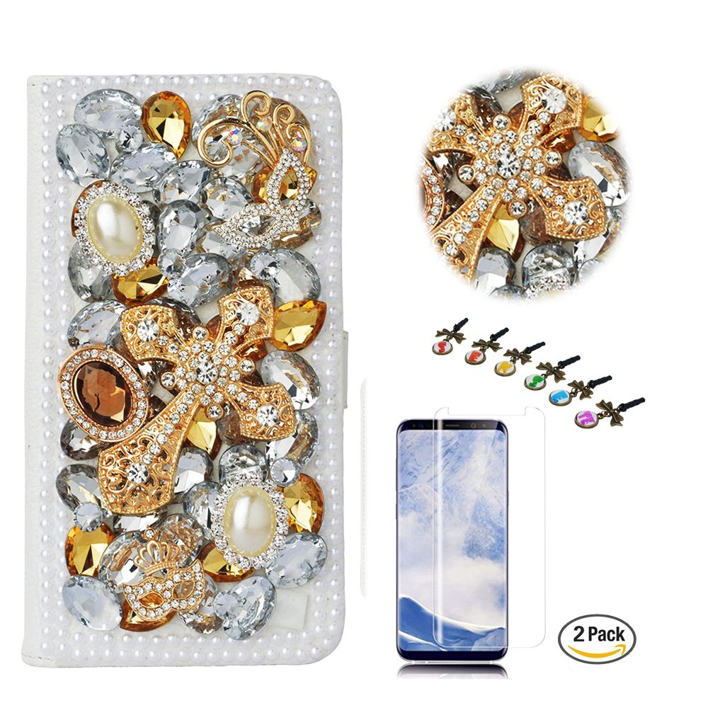 STENES LG Stylo 4 Case - Stylish - 3D Handmade Crystal Mask Cross Design Wallet Credit Card Slots Fold Media Stand Leather Cover with Screen Protector for LG Stylo 4 / LG Q710MS - Gold