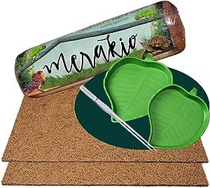 Merakio Leopard Gecko Tank Accessories | Leopard Gecko Supplies | Leopard Gecko Accessories | Leopard Gecko Food | Reptile Carpet 40 Gallon | Leopard Gecko Kits (2 Mats 2 Plates)