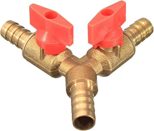 """3//8/"""" ID Hose Barb Y Shape 3 Way Shut Off Ball Fitting Valve For Gas Water Oil"""