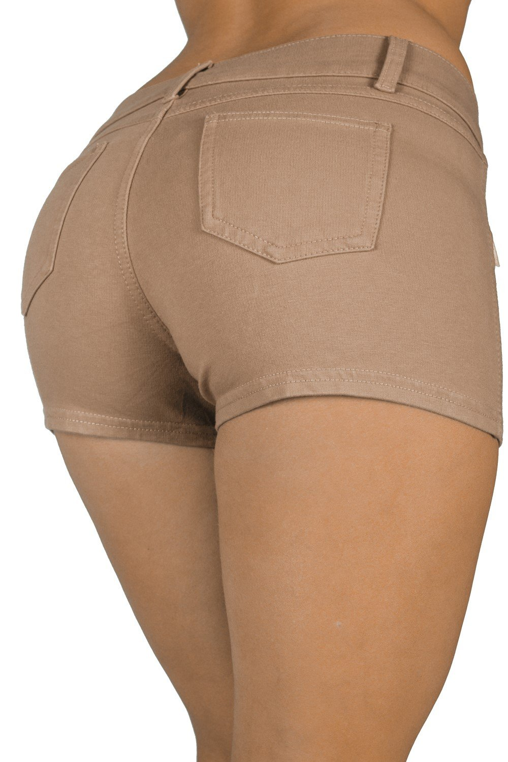 Basic Booty Shorts Premium Stretch French Terry Moleton With a gentle butt lifting stitching in Khaki Size S