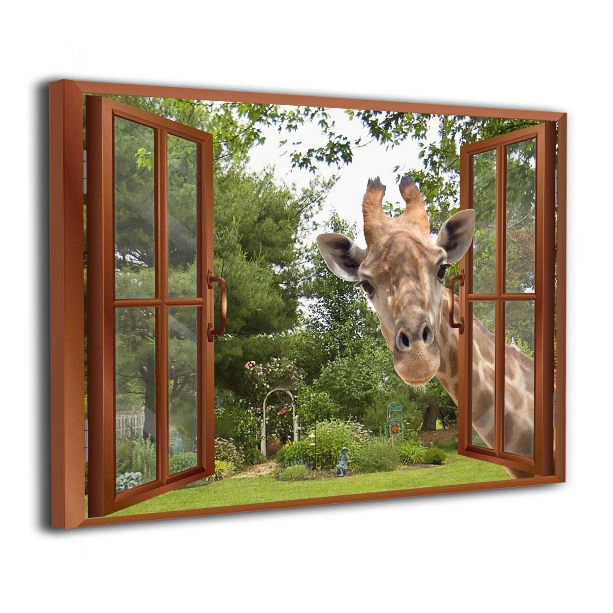 WONDER 4 A Curious Giraffe Sticking Its Head Into an Open Window Home Decor Canvas Wall Art Modern Living Room//Bedroom Decoration Stretched and Ready to Hang
