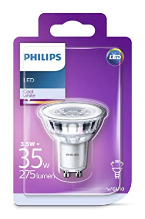 Philips - Bombilla LED Foco GU10 Cristal, 3.5 W, Equivalente a 35 W,