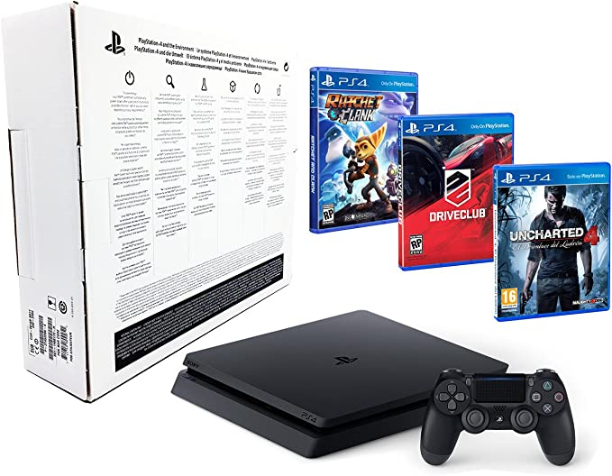 PS4 Slim 1TB PACK FAMILIAR de 3 Juegos: Ratchet & Clank, Uncharted ...