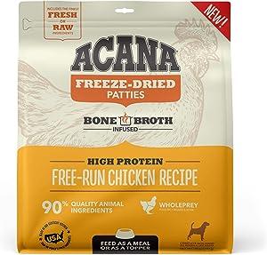 ACANA Grain Free High Protein Fresh & Raw Animal Ingredients Free-Run Chicken Recipe Freeze Dried Patties Dog Food, 14 oz.