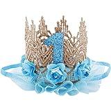 June Bloomy Baby Golden Lace Rose Flower Crown 1st Birthday Headband Princess Tiara