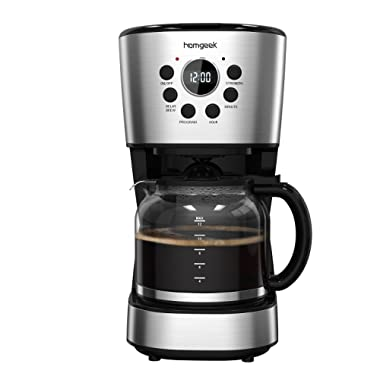 Homgeek Programmable Coffee Maker, 12-Cup Coffee Maker Auto Shut Off Drip Coffee Machine with Glass Coffee Pot and Basket Coffee Filter,Stainless Steel Black