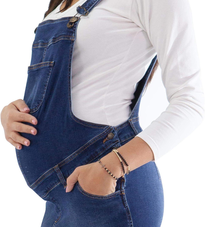 Vestito Salopette di Jeans Scontatissima a Causa di Impercettibili Difetti di Trama sul Tessuto MAMAJEANS Salopette Gonna Premaman Made in Italy Classificati in Grado A e Grado B