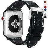 Fullmosa Compatibile Cinturino per Apple Watch 38mm/40mm e 42mm/44mm,7 Colori LC-Jan Pelle Cinturino/Cinturini di Ricambio per Apple Watch,per iWatch Series 4,3,2,1, Nero