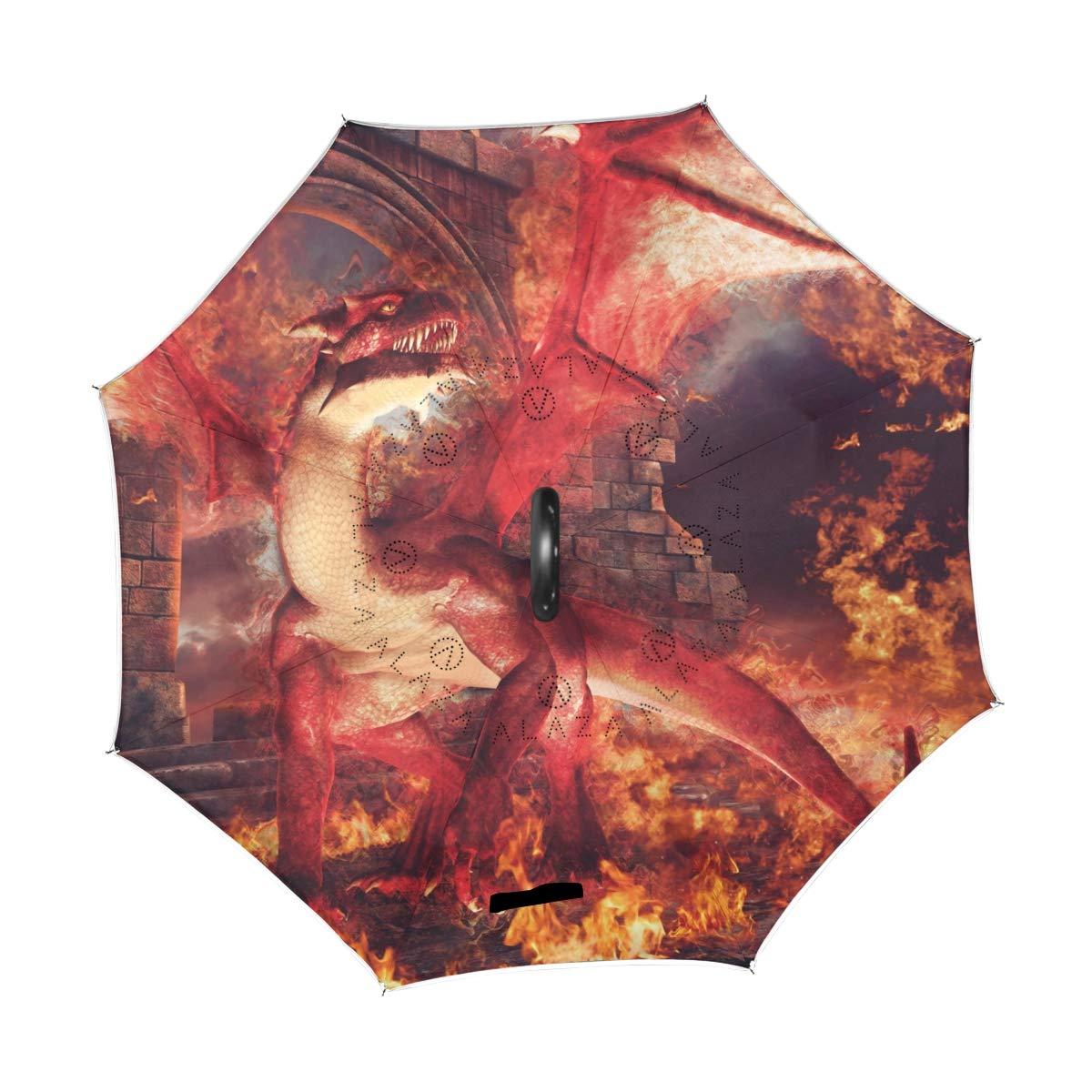 Mnsruu invers/é parapluies Rouge Dragons Double Couche Pliant Parapluie Coupe-Vent Anti-UV Coupe-Vent Voyage Parapluie pour Homme et Femme