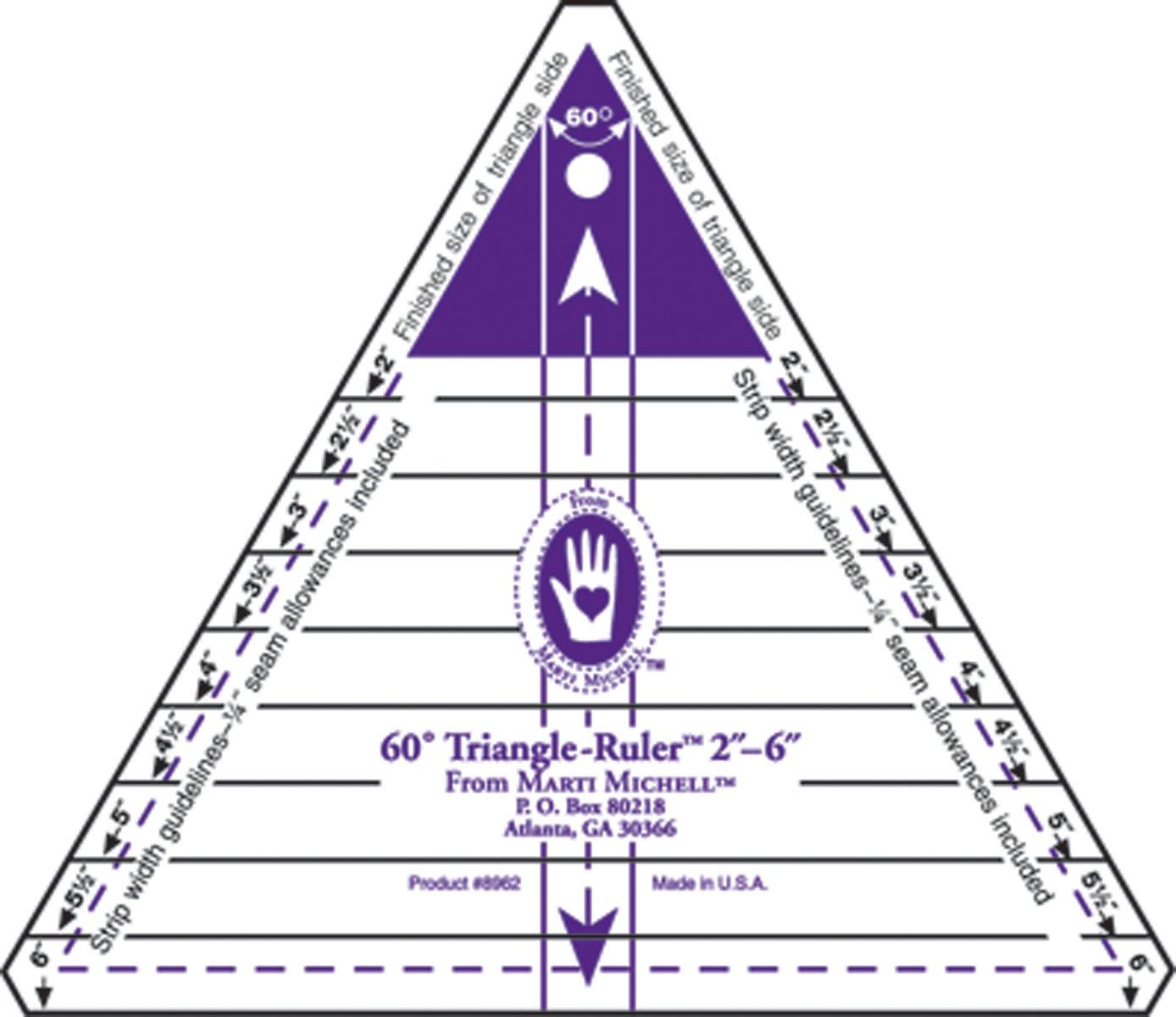 Marti Michell 2-6-Inch 60 Degree Triangle Ruler 8962M 080301