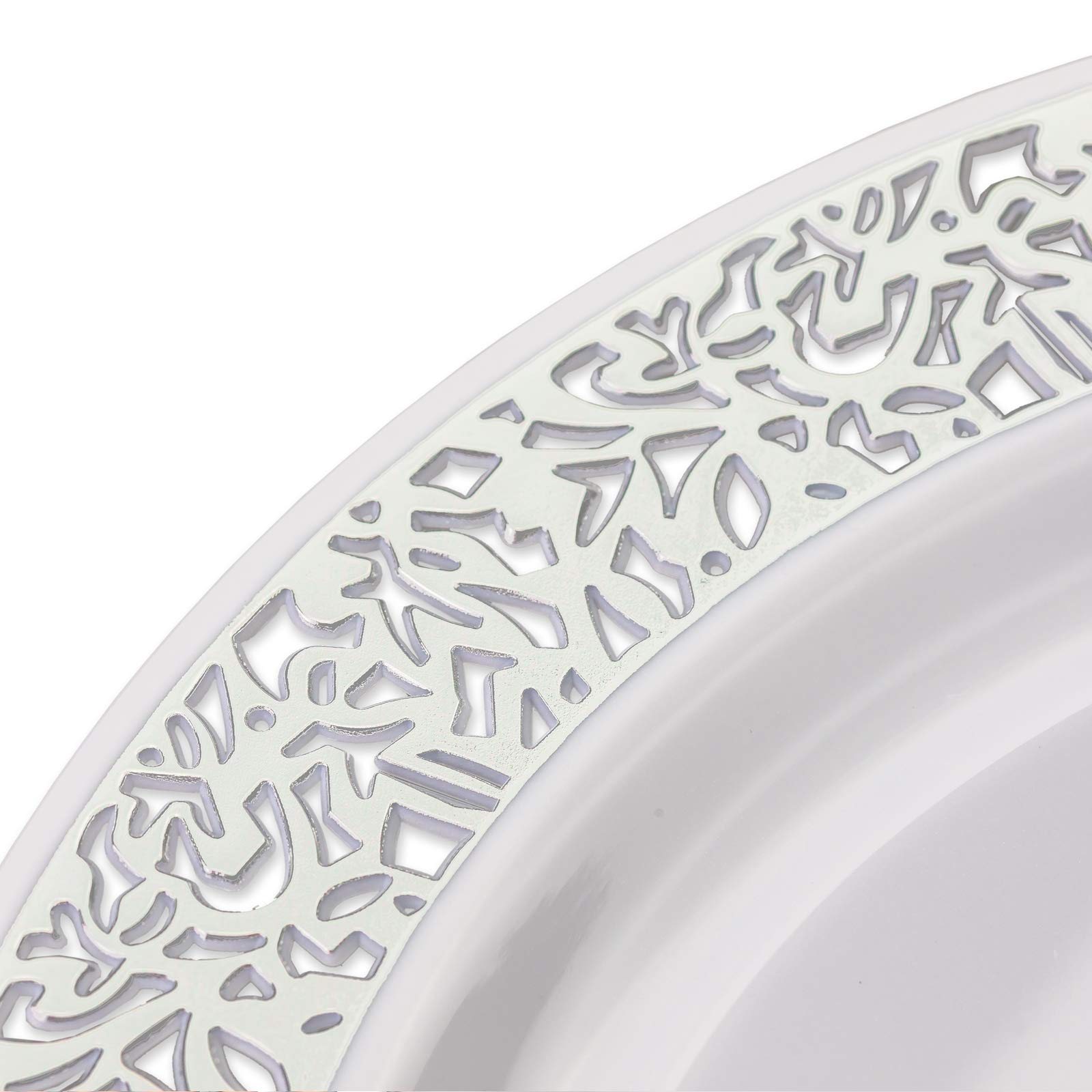 Your Gatherings - 606pc/100 Guest Silver Premium Disposable Wedding Dinnerware Set | 100 Dinner Plates, 100 Dessert Plates, 200 Forks, 100 Spoons, 100 Knives, (100 Guest Set, Silver) by Your Gatherings (Image #2)